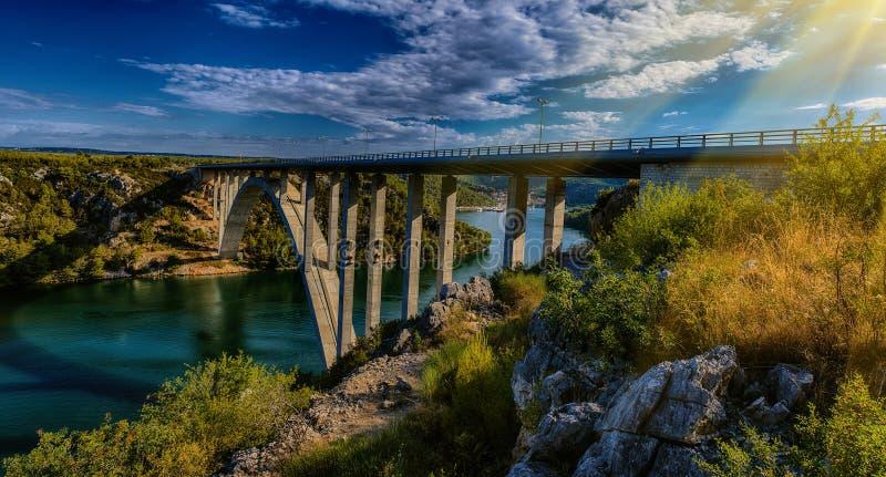 Het panorama van het Nationale Park van Krka is één van Kroatisch royalty-vrije stock foto