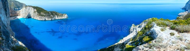 Het panorama van het Navagiostrand (Zakynthos, Griekenland) royalty-vrije stock afbeelding