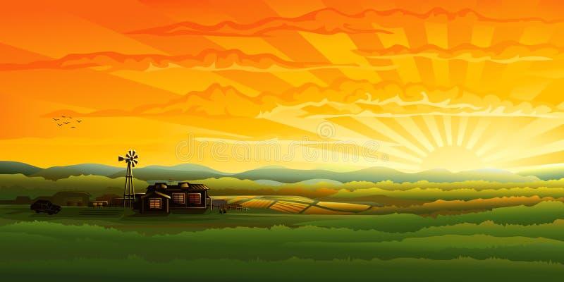 Het panorama van het platteland in de avond royalty-vrije illustratie