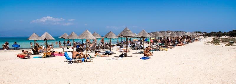 Het Panorama van het strand stock fotografie