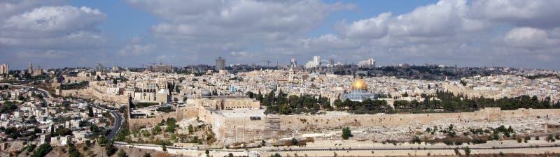 Het panorama van Jeruzalem stock foto's