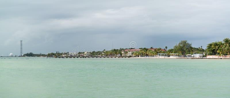 Het panorama van Key West van de zuidenkust, Florida stock foto's