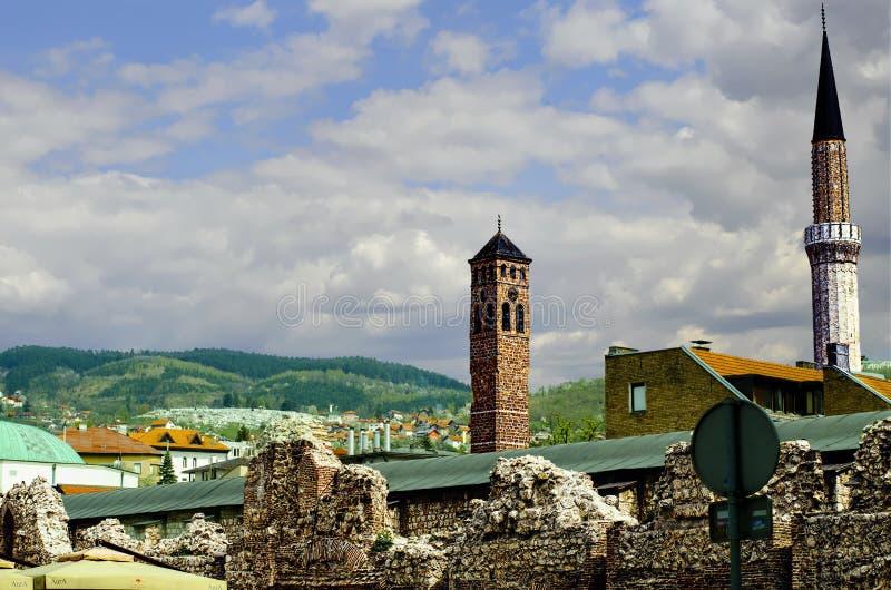 Het Panorama van klokketorensarajevo royalty-vrije stock afbeeldingen
