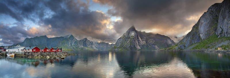 Het Panorama van Lofoteneilanden stock fotografie