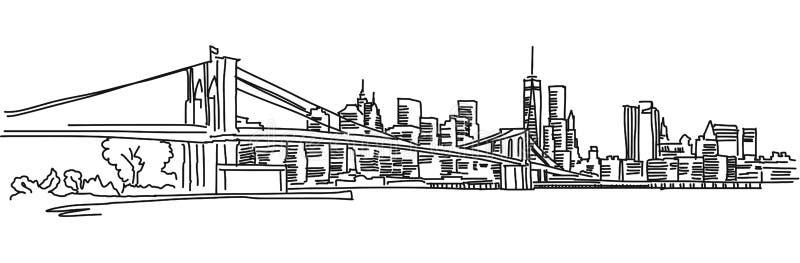 Het Panorama van New York met de brug van Brooklyn royalty-vrije illustratie
