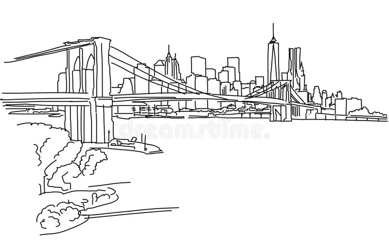 Het Panorama van New York met de brug van Brooklyn stock illustratie