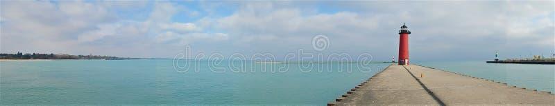 Het Panorama van het noordenpier head lighthouse kenosha wisconsin royalty-vrije stock foto