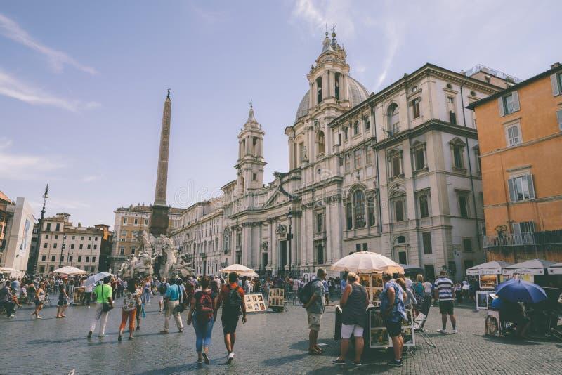 Het panorama van Piazza Navona is een vierkant in Rome royalty-vrije stock foto's