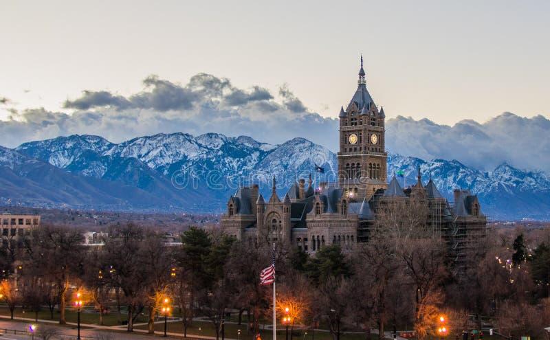 Het panorama van Salt Lake City stock foto