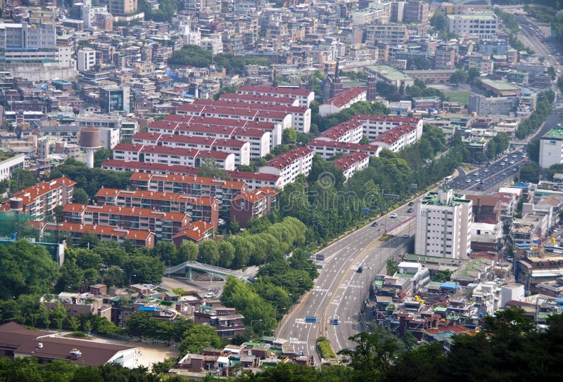 Het panorama van Seoel stock foto's