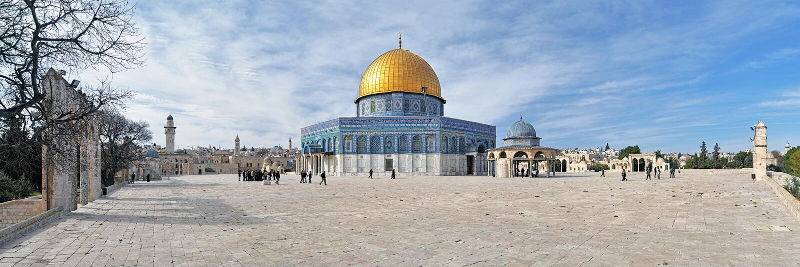 Het panorama van Tempel zet met Koepel van de Rotsmoskee op, Jeruzalem royalty-vrije stock afbeelding
