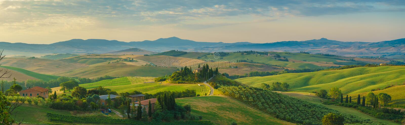 Het panorama van Toscanië in de ochtend stock foto