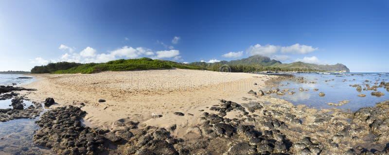 Het Panorama van het ulepustrand van Maha `, Kauai royalty-vrije stock afbeeldingen