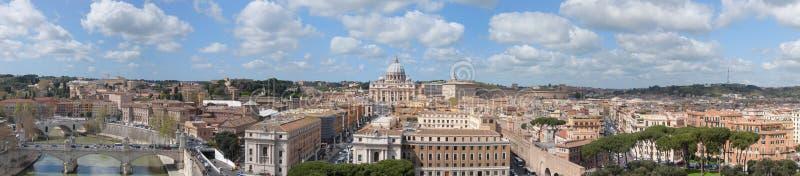 Het Panorama van Vatikaan en van Rome stock afbeelding