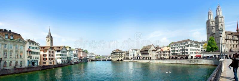 Het panorama van Zürich stock foto