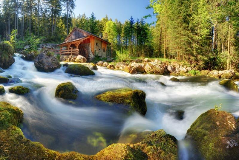 Het panoramalandschap van Oostenrijk met waterval en watermill dichtbij Zout stock afbeelding