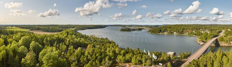Het panoramische landschap van Finland met meer en bosaland-eilanden stock afbeelding