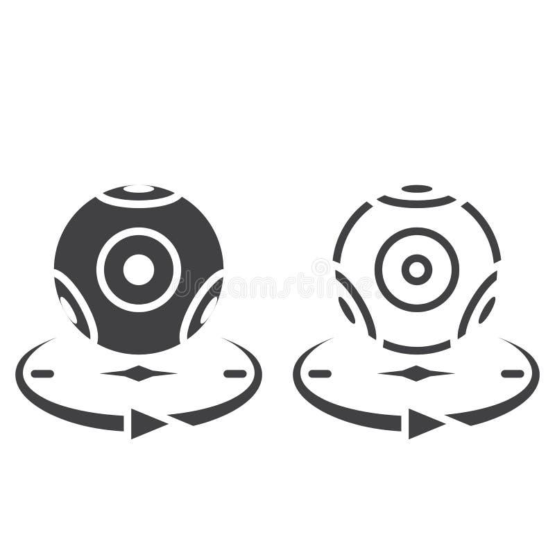 Het panoramische pictogram van de videocameralijn, overzicht en stevig vectorteken, stock illustratie