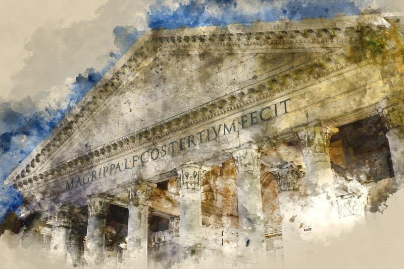 Het Pantheon in Rome - een populair oriëntatiepunt in het historische district stock illustratie