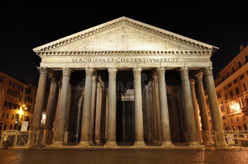 Het Pantheon van Rome bij nacht royalty-vrije stock foto's