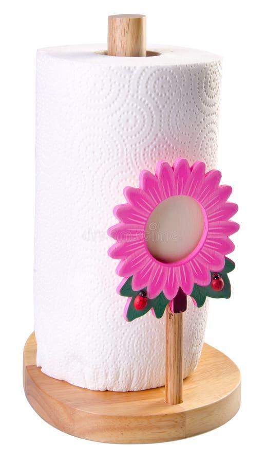Het papieren zakdoekje van de keuken in handdoekhouder stock foto's