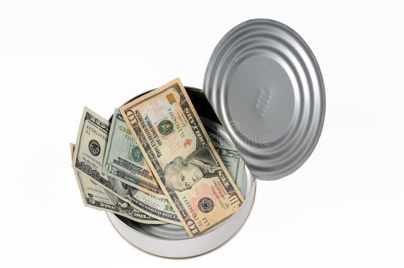 Het papiergeld kan binnen stock foto