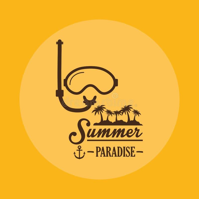 Het paradijs van de affichezomer snorkelt masker gele achtergrond stock illustratie