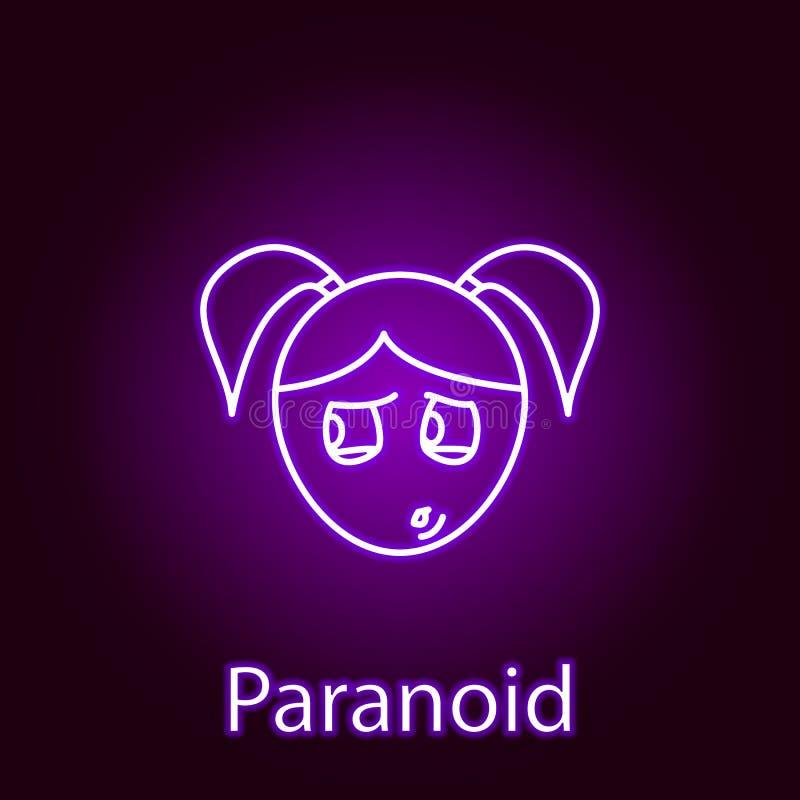 het parano?de pictogram van het meisjesgezicht in neonstijl Element van emoties voor mobiele concept en Web apps illustratie r vector illustratie