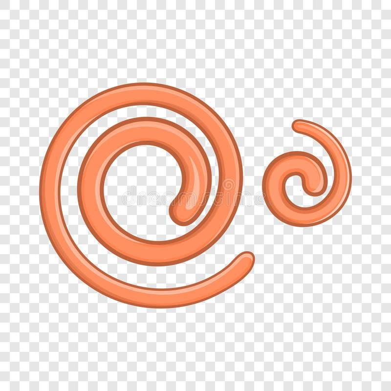 Het parasitische pictogram van draadwormwormen, beeldverhaalstijl royalty-vrije illustratie