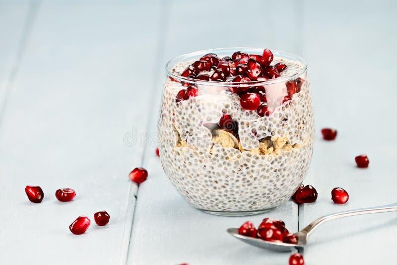 Het Parfait van Chia Seed en van de Granaatappel stock foto's