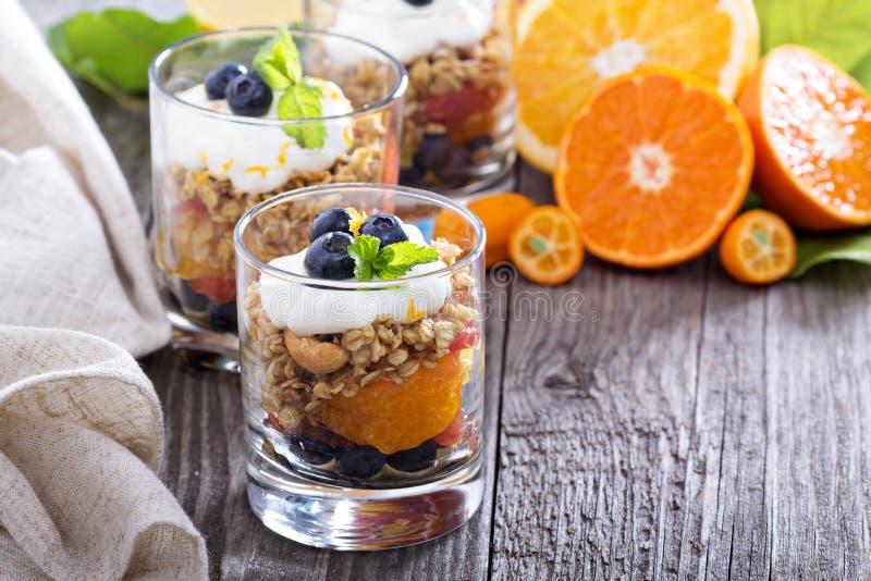 Het parfait van het Granolaontbijt met citrusvrucht royalty-vrije stock afbeeldingen