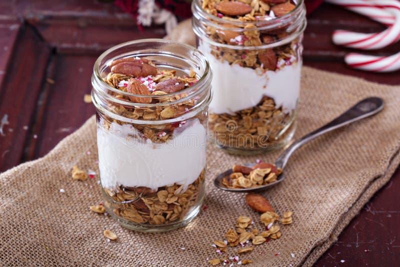Het parfait van peperkoekgranola met yoghurt royalty-vrije stock foto