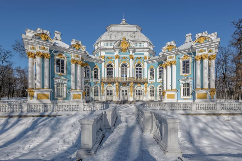 Het park van Catherine in Pushkin (Tsarskoe Selo), St. Petersburg, Rusland stock foto