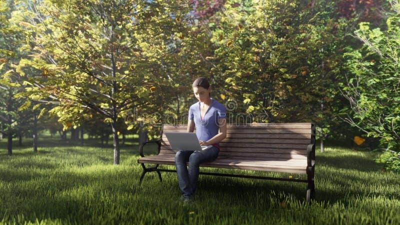 Het park van de de herfstkleur Weergeven van kleurrijke de herfstbomen op een Zonnige de herfstdag Meisjeszitting met laptop op e vector illustratie