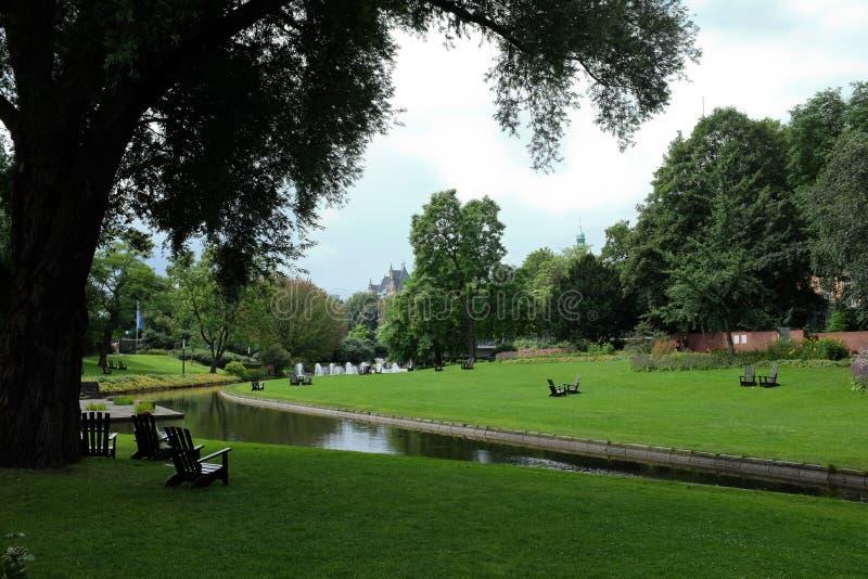 Het park van de Plantenv.n. Blomen in Hamburg stock foto's