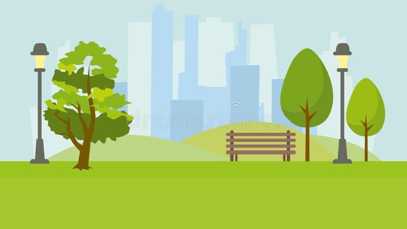 Het park van de stad Landschap op de achtergrond van lange huizen vector illustratie