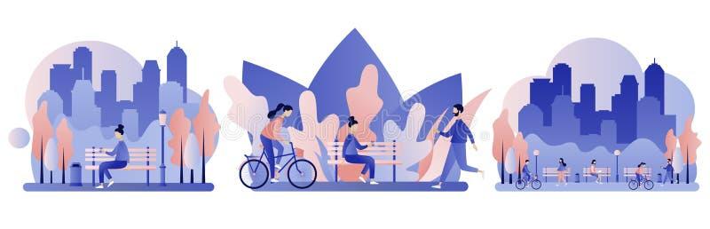 Het park van de stad Vlakke stijl vector illustratie
