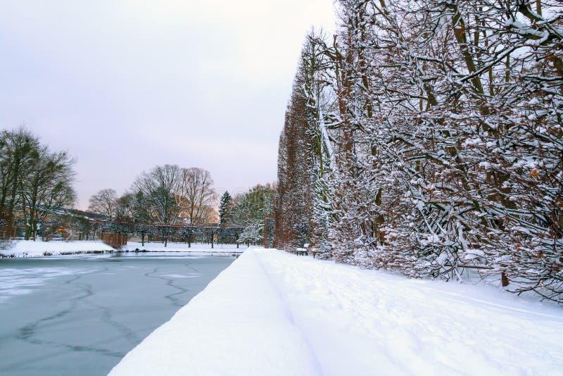 Het park van Gdansk Oliwa in de winter