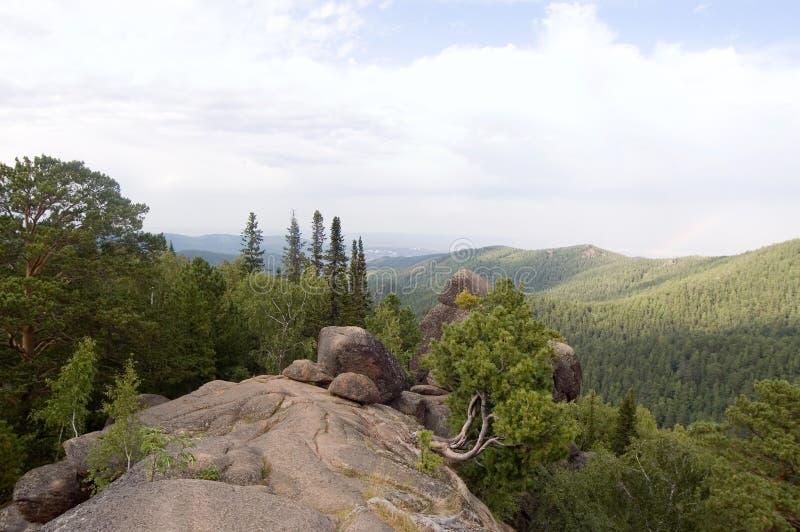 Het park van Stolby, mening van een rots stock foto