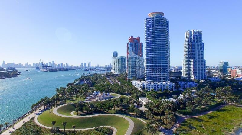 Het Park van zuidenpointe in het Strand van Miami, luchtmening stock foto's