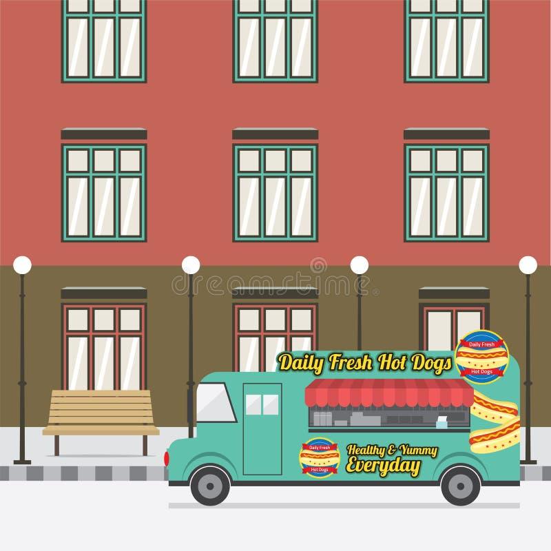 Het Parkeren van de voedselvrachtwagen bij de Lege Straat stock illustratie