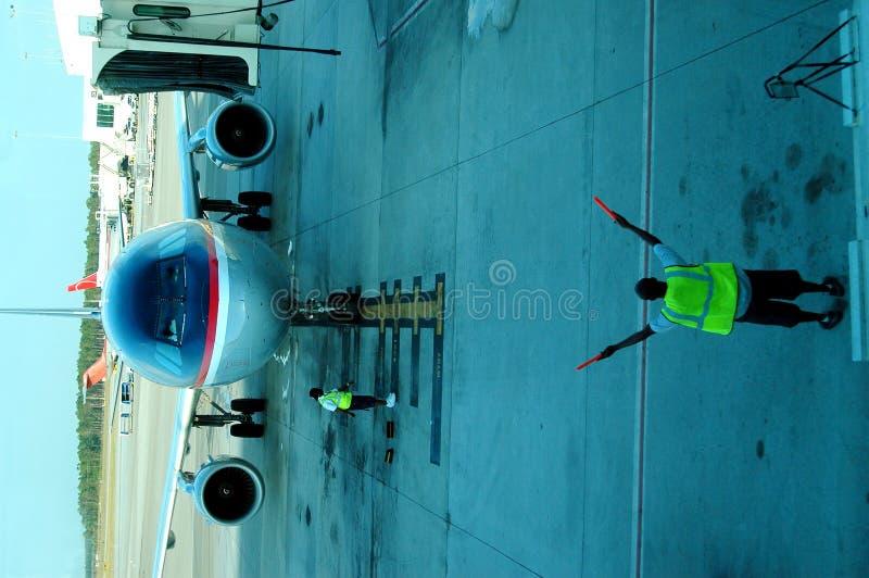 Het parkeren van het vliegtuig royalty-vrije stock afbeeldingen