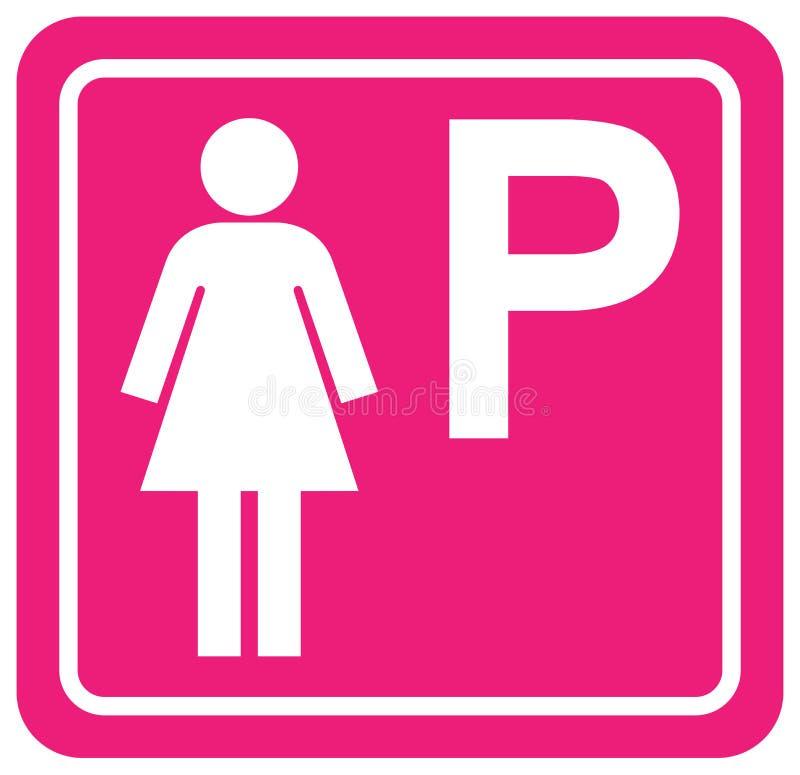 Het parkeren voor het Teken van het Vrouwensymbool, Vectorillustratie, isoleert op Wit Etiket Als achtergrond EPS10 vector illustratie