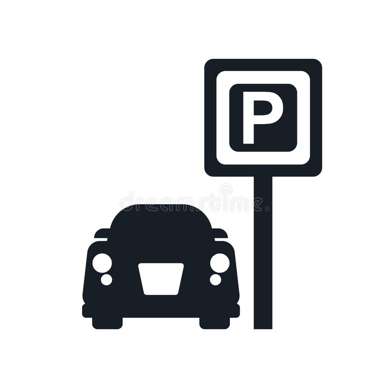 Het parkerende teken en het symbool van het Tekenpictogram vectordie op witte achtergrond, het Parkeren het concept van het Teken stock illustratie