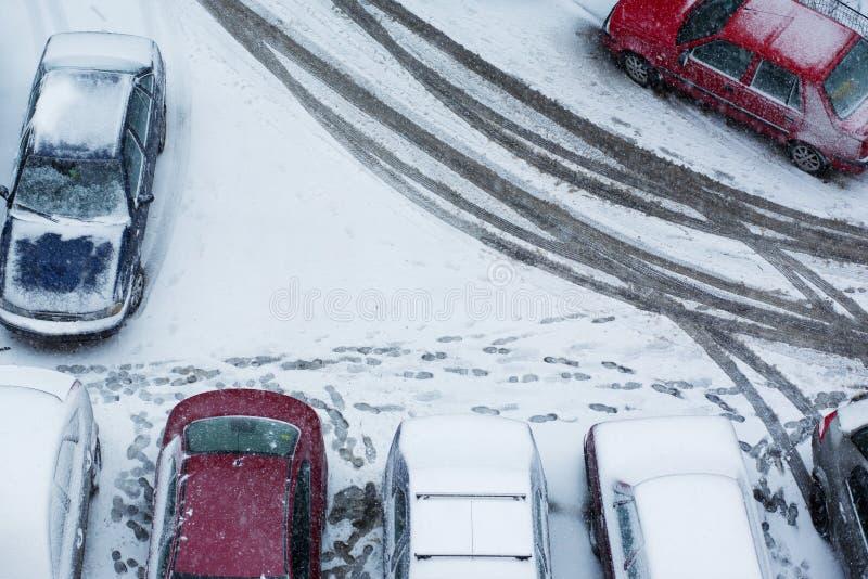 Het parkerensamenvatting van de winter stock afbeelding