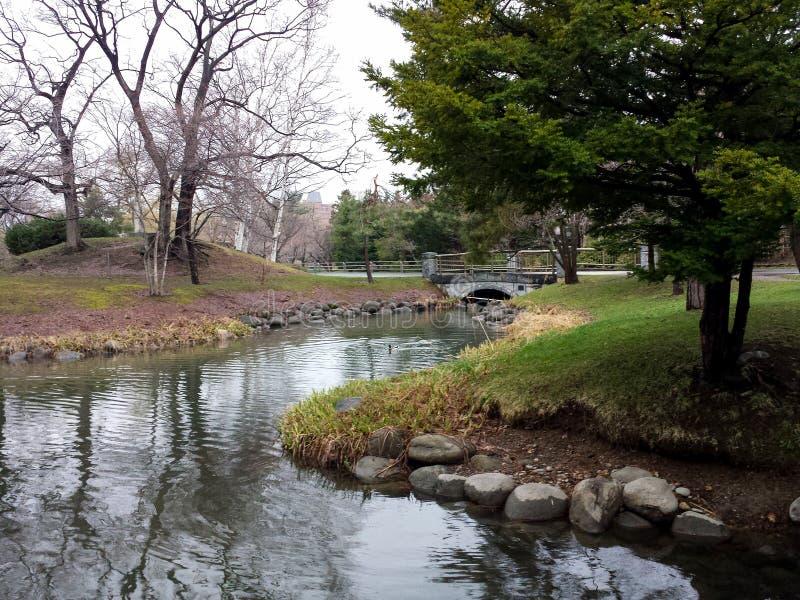 Het parklandschap van de Sapporostad in de vroege lente royalty-vrije stock foto's