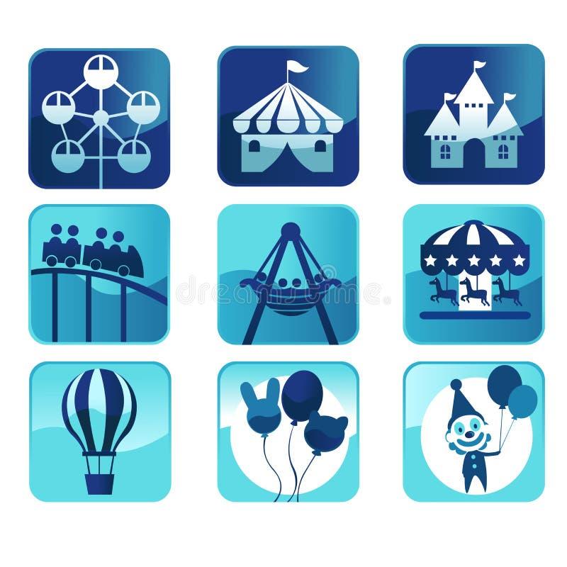 Het parkpictogrammen van het thema stock illustratie