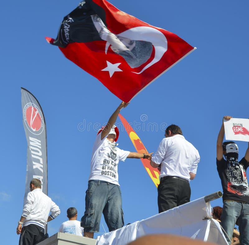 Het Parkprotesten en Gebeurtenissen van Taksimgezi Een mening van protesten i royalty-vrije stock afbeelding