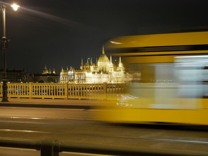 Het Parlement de Bouw van de nacht van Boedapest stock foto's