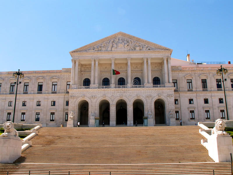 Het Parlement in Lissabon stock foto's